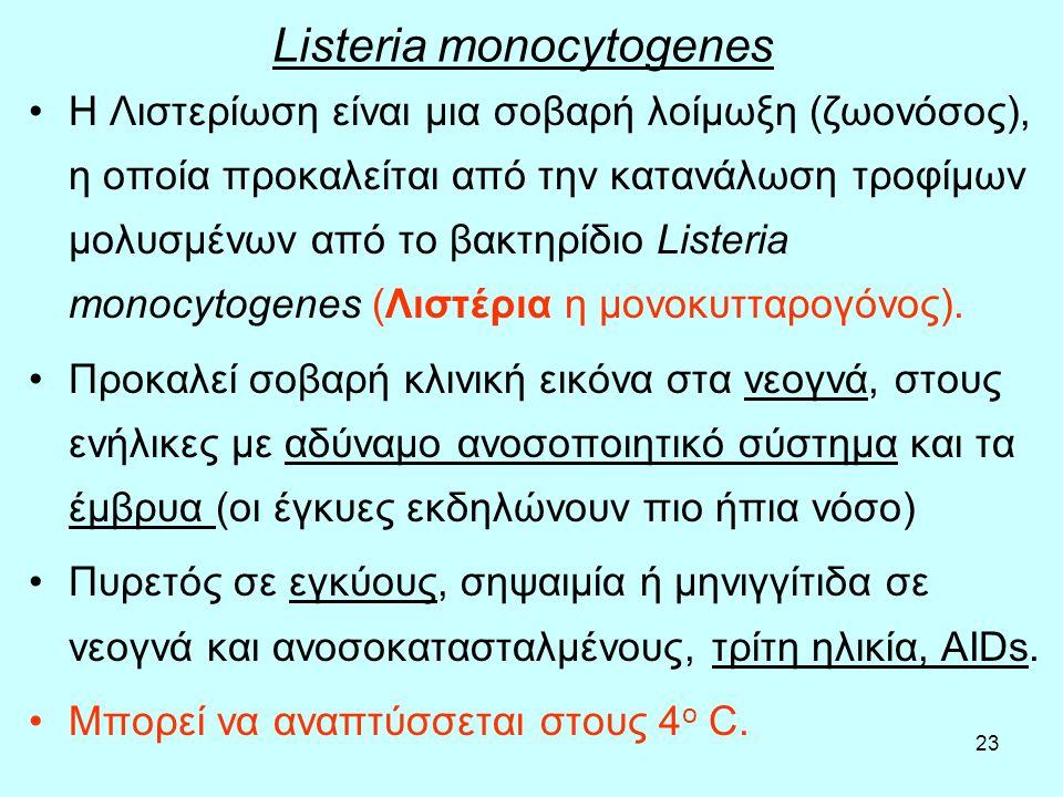 23 Listeria monocytogenes Η Λιστερίωση είναι µια σοβαρή λοίμωξη (ζωονόσος), η οποία προκαλείται από την κατανάλωση τροφίµων µολυσµένων από το βακτηρίδ