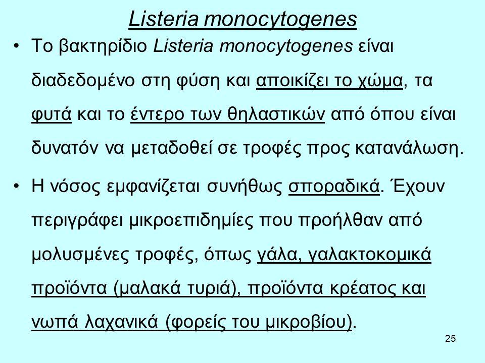 25 Listeria monocytogenes Το βακτηρίδιο Listeria monocytogenes είναι διαδεδομένο στη φύση και αποικίζει το χώμα, τα φυτά και το έντερο των θηλαστικών