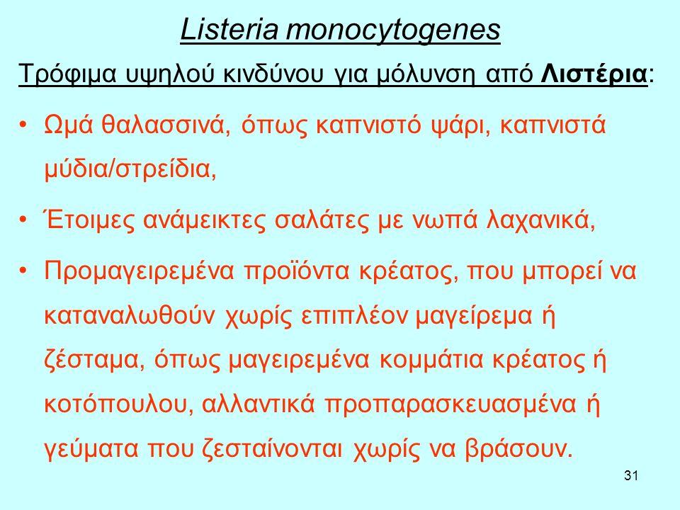 31 Listeria monocytogenes Τρόφιμα υψηλού κινδύνου για μόλυνση από Λιστέρια: Ωμά θαλασσινά, όπως καπνιστό ψάρι, καπνιστά μύδια/στρείδια, Έτοιμες ανάμει