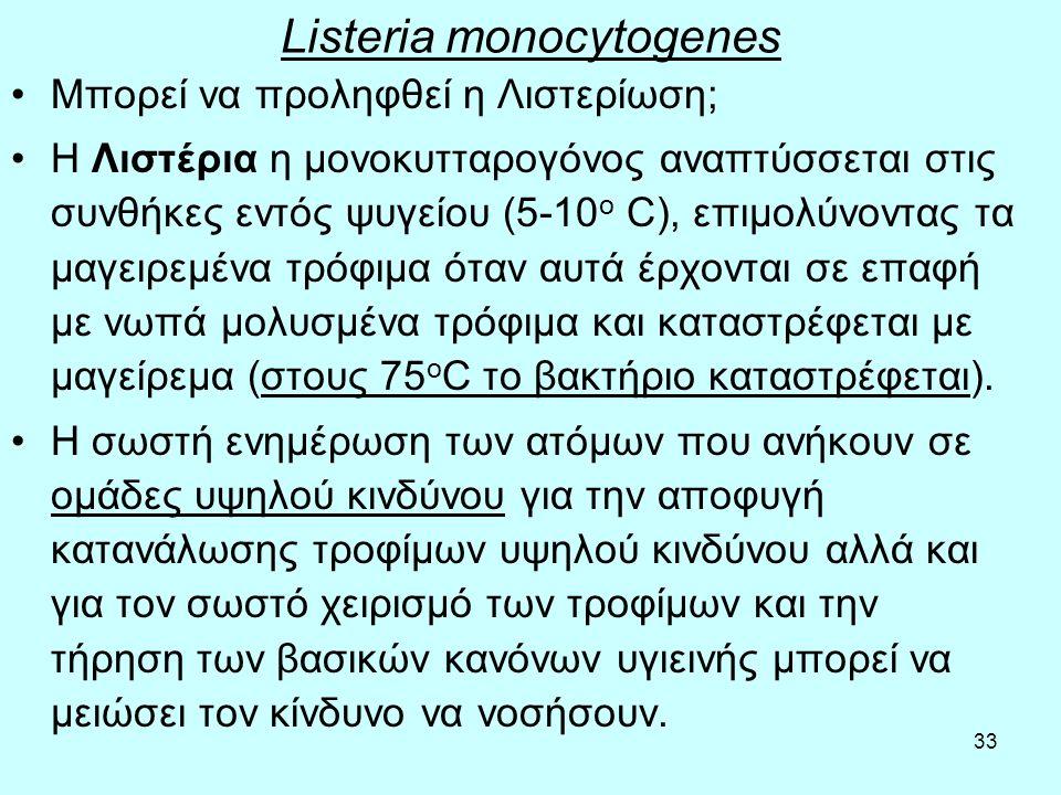 33 Listeria monocytogenes Μπορεί να προληφθεί η Λιστερίωση; Η Λιστέρια η μονοκυτταρογόνος αναπτύσσεται στις συνθήκες εντός ψυγείου (5-10 ο C), επιμολύ