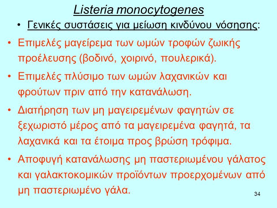 34 Listeria monocytogenes Γενικές συστάσεις για μείωση κινδύνου νόσησης: Επιμελές μαγείρεμα των ωμών τροφών ζωικής προέλευσης (βοδινό, χοιρινό, πουλερ