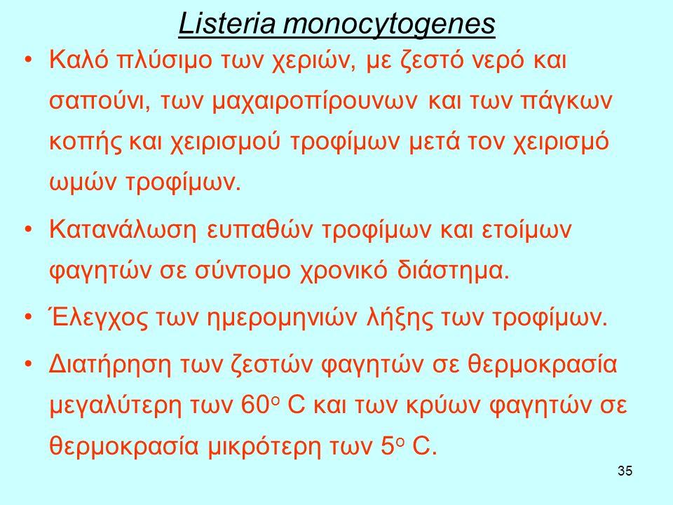 35 Listeria monocytogenes Καλό πλύσιμο των χεριών, µε ζεστό νερό και σαπούνι, των μαχαιροπίρουνων και των πάγκων κοπής και χειρισμού τροφίμων μετά τον