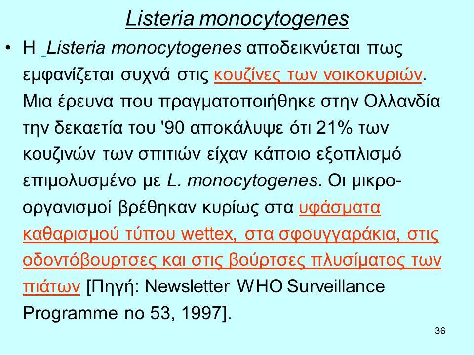 36 Listeria monocytogenes Η Listeria monocytogenes αποδεικνύεται πως εμφανίζεται συχνά στις κουζίνες των νοικοκυριών. Μια έρευνα που πραγματοποιήθηκε