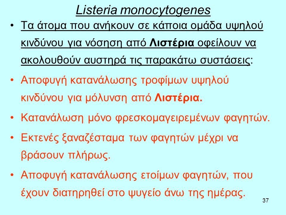 37 Listeria monocytogenes Τα άτομα που ανήκουν σε κάποια ομάδα υψηλού κινδύνου για νόσηση από Λιστέρια οφείλουν να ακολουθούν αυστηρά τις παρακάτω συσ