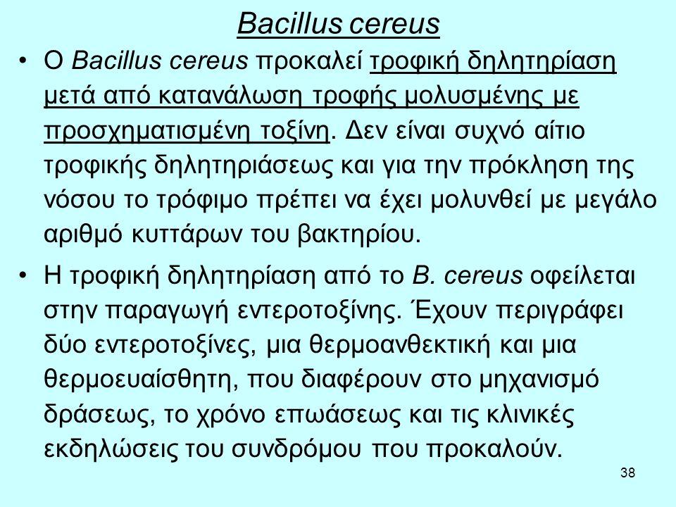 38 Bacillus cereus Ο Bacillus cereus προκαλεί τροφική δηλητηρίαση μετά από κατανάλωση τροφής μολυσμένης με προσχηματισμένη τοξίνη. Δεν είναι συχνό αίτ