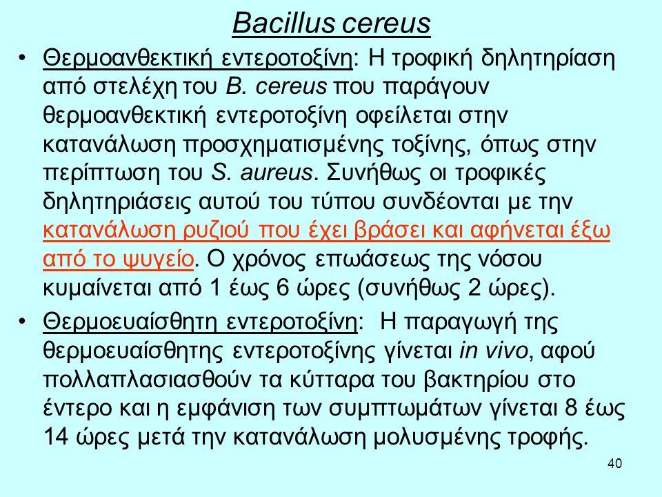 40 Bacillus cereus Θερμοανθεκτική εντεροτοξίνη: Η τροφική δηλητηρίαση από στελέχη του Β. cereus που παράγουν θερμοανθεκτική εντεροτοξίνη οφείλεται στη