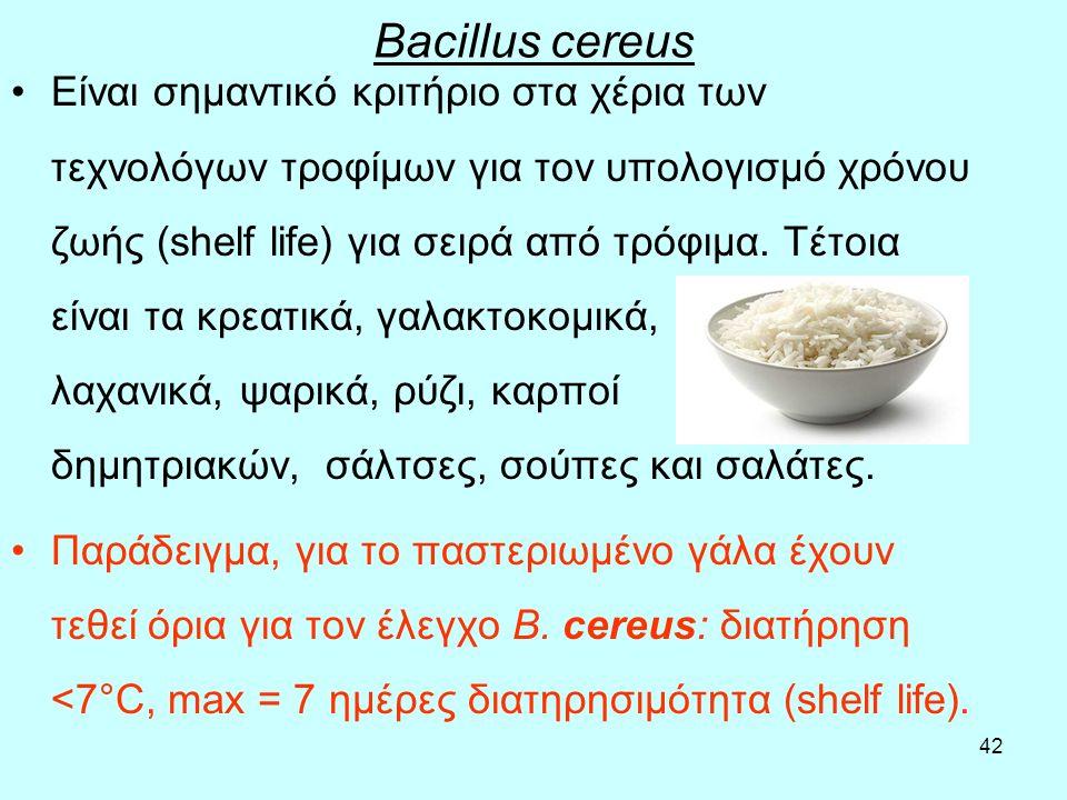 42 Bacillus cereus Είναι σημαντικό κριτήριο στα χέρια των τεχνολόγων τροφίμων για τον υπολογισμό χρόνου ζωής (shelf life) για σειρά από τρόφιμα. Τέτοι