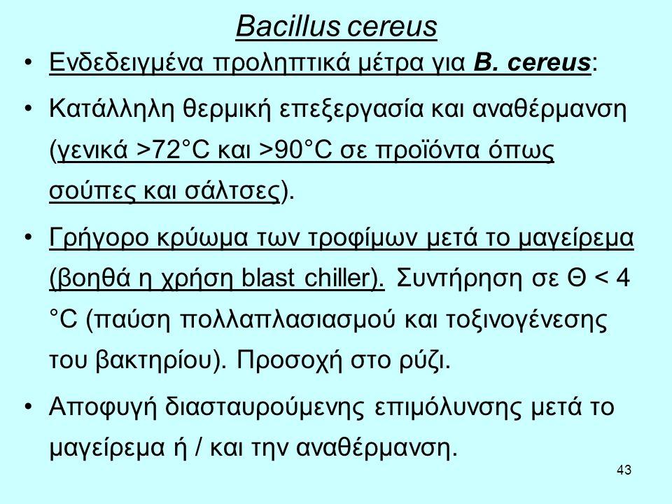 43 Bacillus cereus Ενδεδειγμένα προληπτικά μέτρα για B. cereus: Κατάλληλη θερμική επεξεργασία και αναθέρμανση (γενικά >72°C και >90°C σε προϊόντα όπως