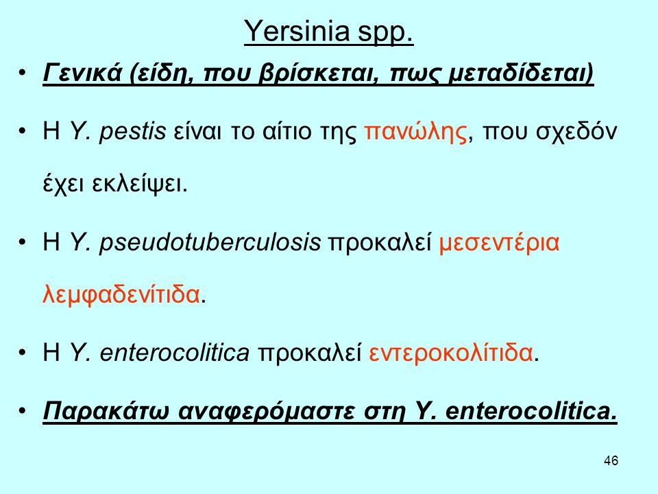 46 Yersinia spp. Γενικά (είδη, που βρίσκεται, πως μεταδίδεται) Η Y. pestis είναι το αίτιο της πανώλης, που σχεδόν έχει εκλείψει. Η Y. pseudotuberculos