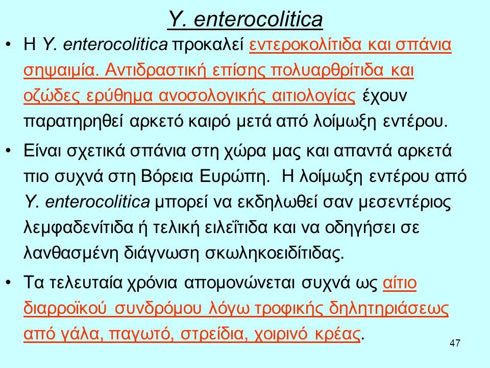 47 Y. enterocolitica Η Y. enterocolitica προκαλεί εντεροκολίτιδα και σπάνια σηψαιμία. Αντιδραστική επίσης πολυαρθρίτιδα και οζώδες ερύθημα ανοσολογική