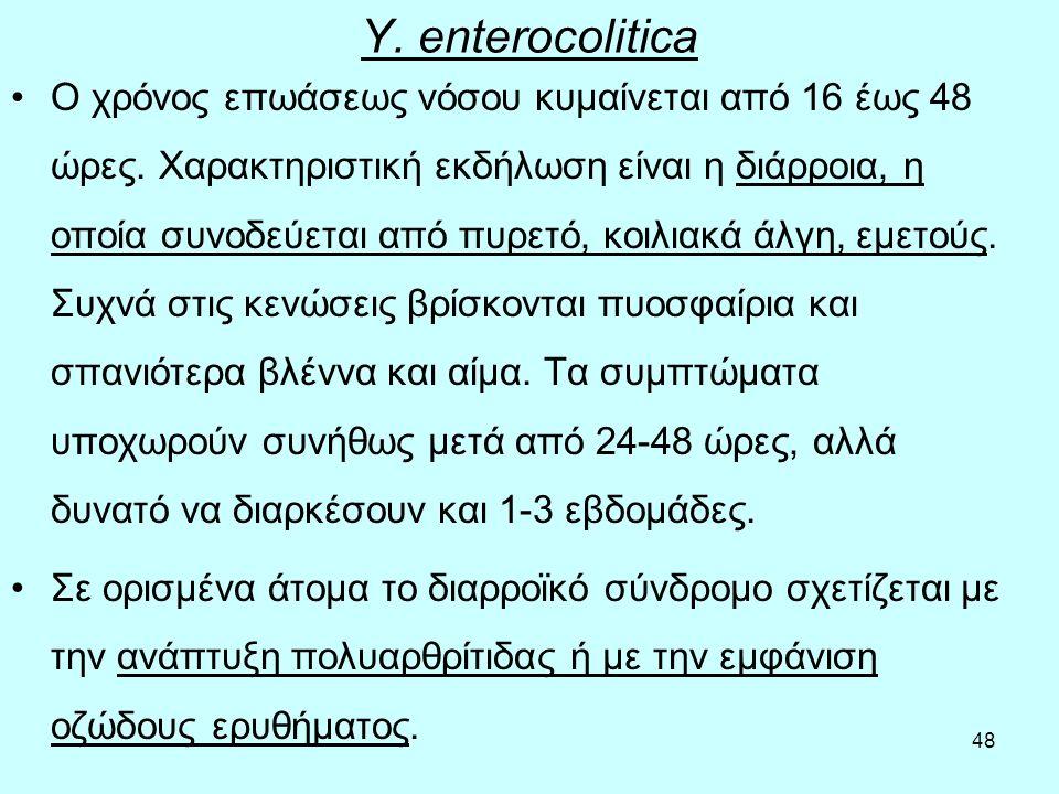 48 Y. enterocolitica Ο χρόνος επωάσεως νόσου κυμαίνεται από 16 έως 48 ώρες. Χαρακτηριστική εκδήλωση είναι η διάρροια, η οποία συνοδεύεται από πυρετό,