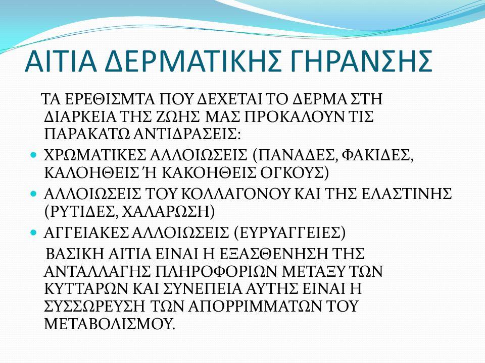 ΑΙΤΙΑ ΔΕΡΜΑΤΙΚΗΣ ΓΗΡΑΝΣΗΣ ΤΑ ΕΡΕΘΙΣΜΤΑ ΠΟΥ ΔΕΧΕΤΑΙ ΤΟ ΔΕΡΜΑ ΣΤΗ ΔΙΑΡΚΕΙΑ ΤΗΣ ΖΩΗΣ ΜΑΣ ΠΡΟΚΑΛΟΥΝ ΤΙΣ ΠΑΡΑΚΑΤΩ ΑΝΤΙΔΡΑΣΕΙΣ: ΧΡΩΜΑΤΙΚΕΣ ΑΛΛΟΙΩΣΕΙΣ (ΠΑΝΑΔΕΣ, ΦΑΚΙΔΕΣ, ΚΑΛΟΗΘΕΙΣ Ή ΚΑΚΟΗΘΕΙΣ ΟΓΚΟΥΣ) ΑΛΛΟΙΩΣΕΙΣ ΤΟΥ ΚΟΛΛΑΓΟΝΟΥ ΚΑΙ ΤΗΣ ΕΛΑΣΤΙΝΗΣ (ΡΥΤΙΔΕΣ, ΧΑΛΑΡΩΣΗ) ΑΓΓΕΙΑΚΕΣ ΑΛΛΟΙΩΣΕΙΣ (ΕΥΡΥΑΓΓΕΙΕΣ) ΒΑΣΙΚΗ ΑΙΤΙΑ ΕΙΝΑΙ Η ΕΞΑΣΘΕΝΗΣΗ ΤΗΣ ΑΝΤΑΛΛΑΓΗΣ ΠΛΗΡΟΦΟΡΙΩΝ ΜΕΤΑΞΥ ΤΩΝ ΚΥΤΤΑΡΩΝ ΚΑΙ ΣΥΝΕΠΕΙΑ ΑΥΤΗΣ ΕΙΝΑΙ Η ΣΥΣΣΩΡΕΥΣΗ ΤΩΝ ΑΠΟΡΡΙΜΜΑΤΩΝ ΤΟΥ ΜΕΤΑΒΟΛΙΣΜΟΥ.