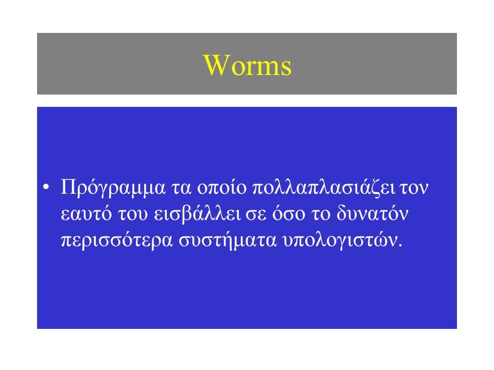 Worms Πρόγραμμα τα οποίο πολλαπλασιάζει τον εαυτό του εισβάλλει σε όσο το δυνατόν περισσότερα συστήματα υπολογιστών.
