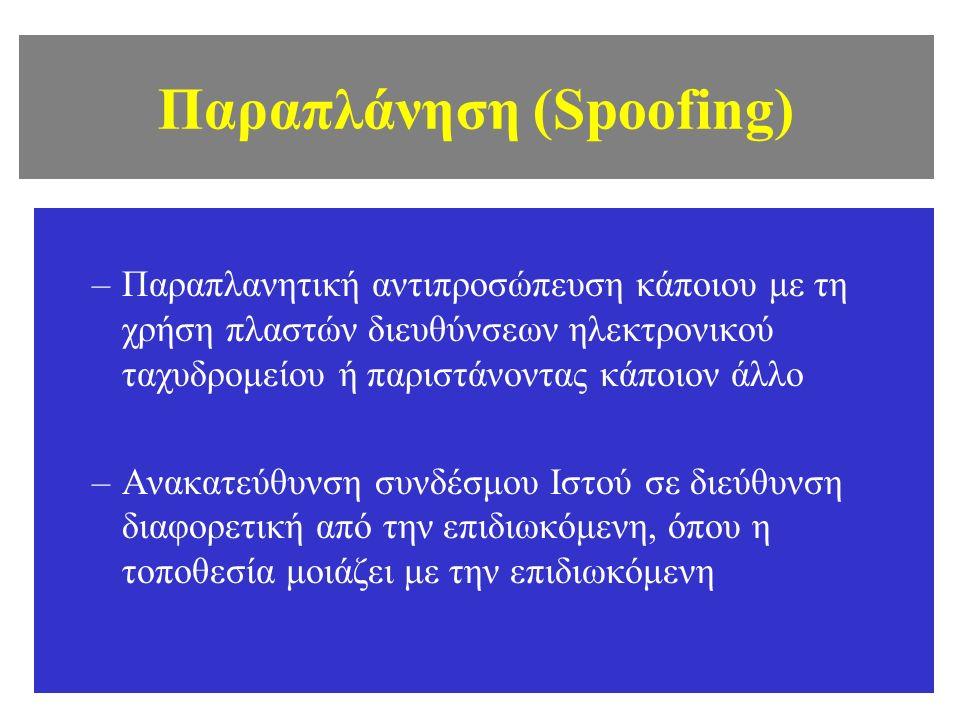 Παραπλάνηση (Spoofing) –Παραπλανητική αντιπροσώπευση κάποιου με τη χρήση πλαστών διευθύνσεων ηλεκτρονικού ταχυδρομείου ή παριστάνοντας κάποιον άλλο –Ανακατεύθυνση συνδέσμου Ιστού σε διεύθυνση διαφορετική από την επιδιωκόμενη, όπου η τοποθεσία μοιάζει με την επιδιωκόμενη