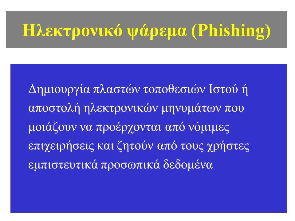 Ηλεκτρονικό ψάρεμα (Phishing) Δημιουργία πλαστών τοποθεσιών Ιστού ή αποστολή ηλεκτρονικών μηνυμάτων που μοιάζουν να προέρχονται από νόμιμες επιχειρήσεις και ζητούν από τους χρήστες εμπιστευτικά προσωπικά δεδομένα