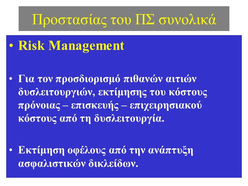 Προστασίας του ΠΣ συνολικά Risk Management Για τον προσδιορισμό πιθανών αιτιών δυσλειτουργιών, εκτίμησης του κόστους πρόνοιας – επισκευής – επιχειρησιακού κόστους από τη δυσλειτουργία.
