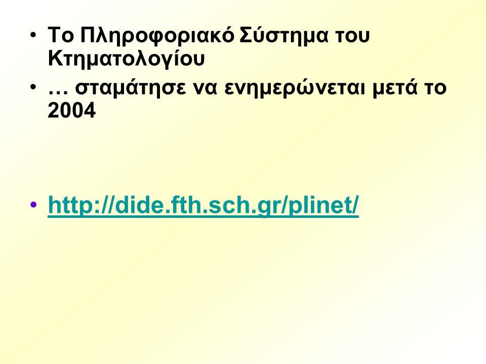 Tο Πληροφοριακό Σύστημα του Κτηματολογίου … σταμάτησε να ενημερώνεται μετά το 2004 http://dide.fth.sch.gr/plinet/
