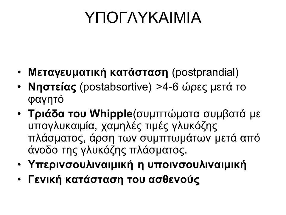 ΥΠΟΓΛΥΚΑΙΜΙΑ Μεταγευματική κατάσταση (postprandial) Νηστείας (postabsortive) >4-6 ώρες μετά το φαγητό Tριάδα του Whipple(συμπτώματα συμβατά με υπογλυκαιμία, χαμηλές τιμές γλυκόζης πλάσματος, άρση των συμπτωμάτων μετά από άνοδο της γλυκόζης πλάσματος.