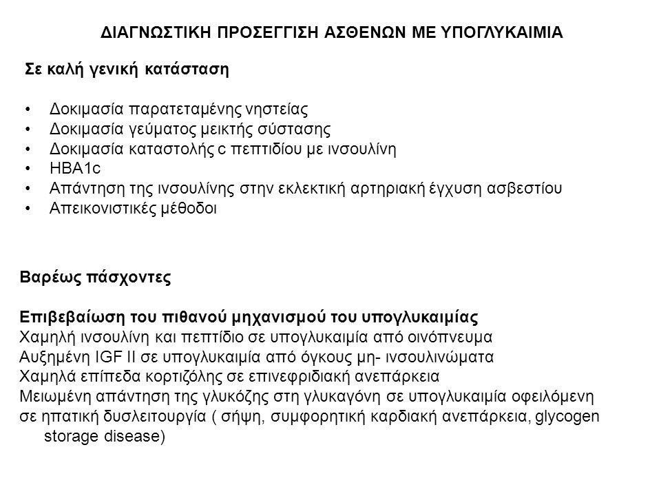 ΔΙΑΓΝΩΣΤΙΚΗ ΠΡΟΣΕΓΓΙΣΗ ΑΣΘΕΝΩΝ ΜΕ ΥΠΟΓΛΥΚΑΙΜΙΑ Σε καλή γενική κατάσταση Δοκιμασία παρατεταμένης νηστείας Δοκιμασία γεύματος μεικτής σύστασης Δοκιμασία καταστολής c πεπτιδίου με ινσουλίνη HBA1c Απάντηση της ινσουλίνης στην εκλεκτική αρτηριακή έγχυση ασβεστίου Απεικονιστικές μέθοδοι Βαρέως πάσχοντες Επιβεβαίωση του πιθανού μηχανισμού του υπογλυκαιμίας Χαμηλή ινσουλίνη και πεπτίδιο σε υπογλυκαιμία από οινόπνευμα Αυξημένη IGF II σε υπογλυκαιμία από όγκους μη- ινσουλινώματα Χαμηλά επίπεδα κορτιζόλης σε επινεφριδιακή ανεπάρκεια Μειωμένη απάντηση της γλυκόζης στη γλυκαγόνη σε υπογλυκαιμία οφειλόμενη σε ηπατική δυσλειτουργία ( σήψη, συμφορητική καρδιακή ανεπάρκεια, glycogen storage disease)