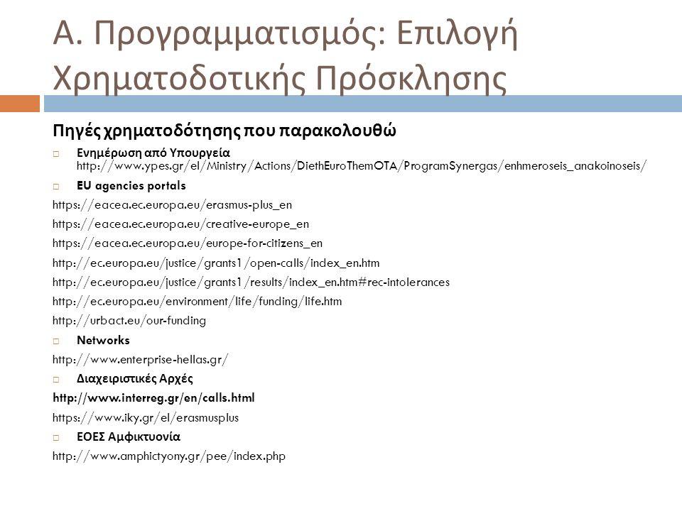Α. Προγραμματισμός : Επιλογή Χρηματοδοτικής Πρόσκλησης Πηγές χρηματοδότησης που παρακολουθώ  Ενημέρωση από Υπουργεία http://www.ypes.gr/el/Ministry/A