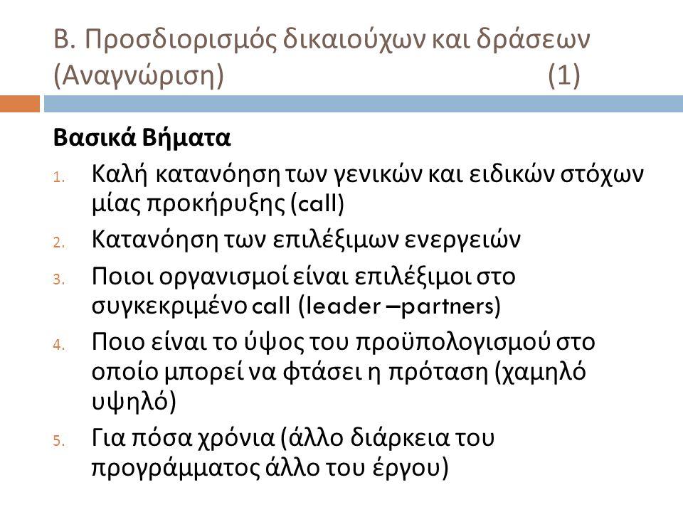 Β. Προσδιορισμός δικαιούχων και δράσεων ( Αναγνώριση ) (1) Βασικά Βήματα 1.