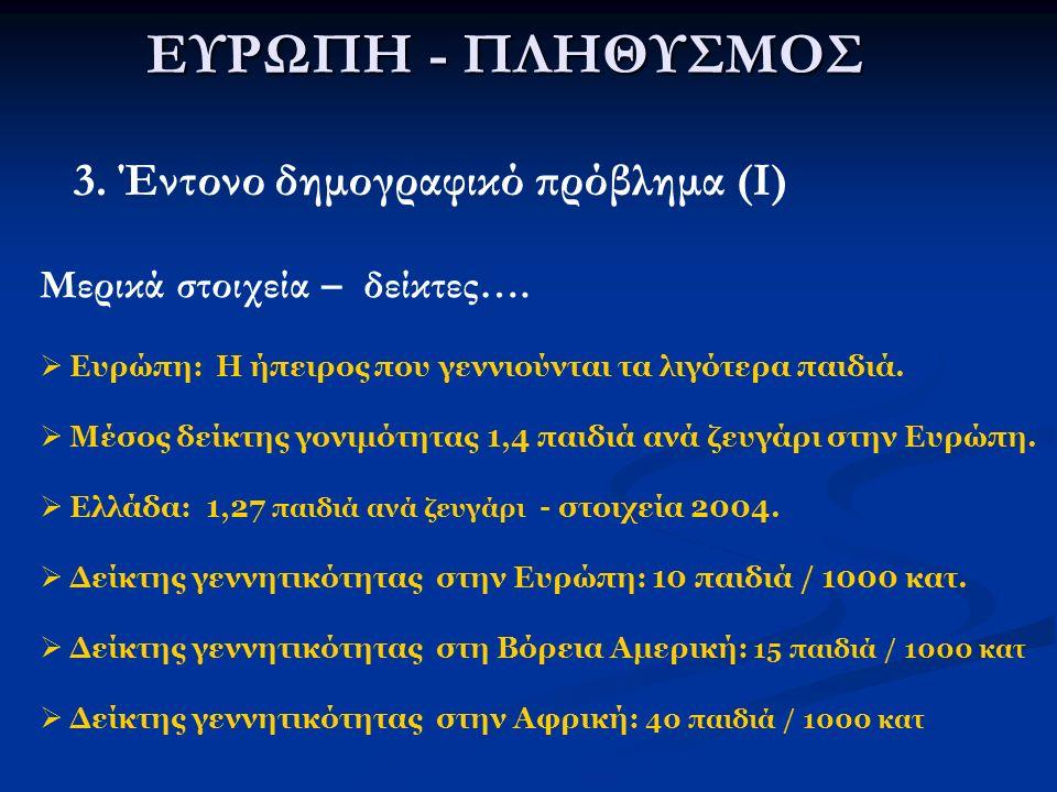 ΕΥΡΩΠΗ - ΠΛΗΘΥΣΜΟΣ 3.Έντονο δημογραφικό πρόβλημα (II) α.