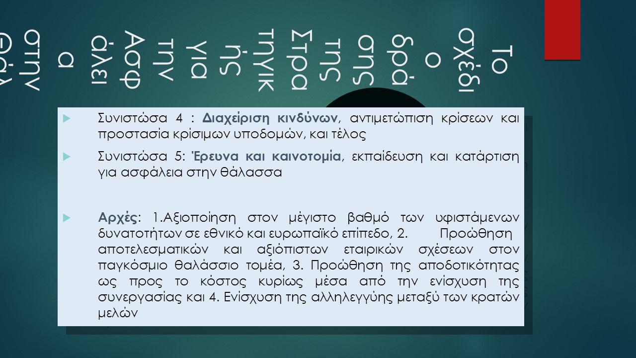  Στυλ υποδείγματος κειμένου Δεύτερου επιπέδου Τρίτου επιπέδου Τέταρτου επιπέδου Πέμπτου επιπέδου Το σχέδι ο δρά σης της Στρα τηγικ ής για την Ασφ άλει α στην Θάλ ασσ α  Συνιστώσα 4 : Διαχείριση κινδύνων, αντιμετώπιση κρίσεων και προστασία κρίσιμων υποδομών, και τέλος  Συνιστώσα 5: Έρευνα και καινοτομία, εκπαίδευση και κατάρτιση για ασφάλεια στην θάλασσα  Αρχές : 1.Αξιοποίηση στον μέγιστο βαθμό των υφιστάμενων δυνατοτήτων σε εθνικό και ευρωπαϊκό επίπεδο, 2.Προώθηση αποτελεσματικών και αξιόπιστων εταιρικών σχέσεων στον παγκόσμιο θαλάσσιο τομέα, 3.