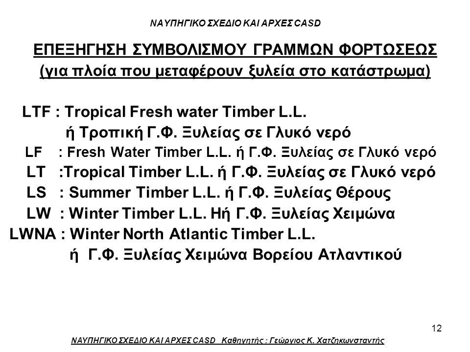12 ΝΑΥΠΗΓΙΚΟ ΣΧΕΔΙΟ ΚΑΙ ΑΡΧΕΣ CASD ΕΠΕΞΗΓΗΣΗ ΣΥΜΒΟΛΙΣΜΟΥ ΓΡΑΜΜΩΝ ΦΟΡΤΩΣΕΩΣ (για πλοία που μεταφέρουν ξυλεία στο κατάστρωμα) LTF : Tropical Fresh water Timber L.L.