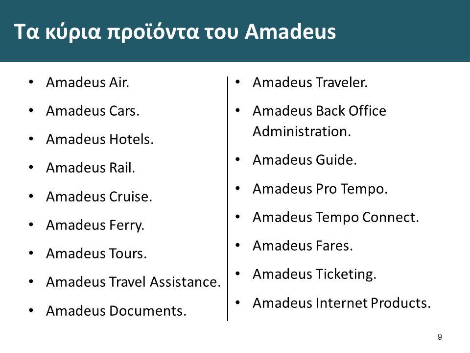 Τα κύρια προϊόντα του Amadeus Amadeus Air. Amadeus Cars.