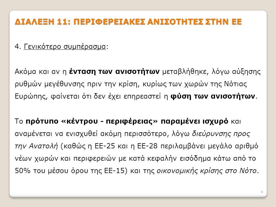 15 ΔΙΑΛΕΞΗ 11: ΠΕΡΙΦΕΡΕΙΑΚΕΣ ΑΝΙΣΟΤΗΤΕΣ ΣΤΗΝ ΕΕ 3.