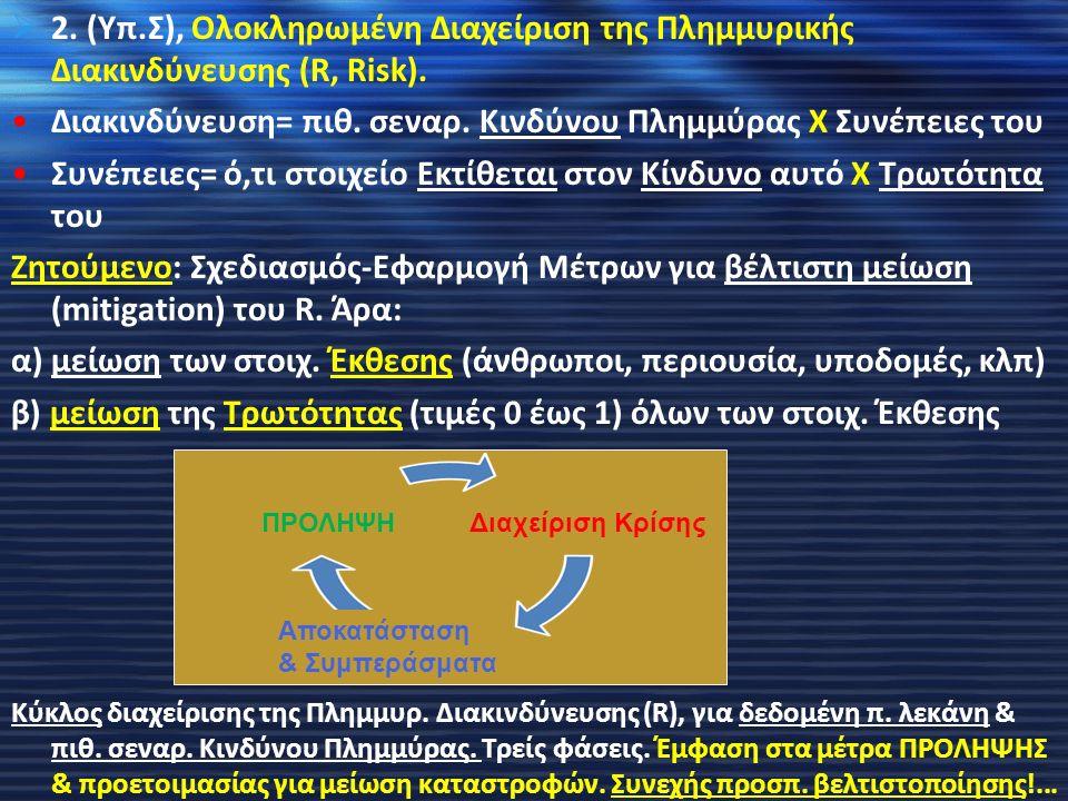  2. (Υπ.Σ), Ολοκληρωμένη Διαχείριση της Πλημμυρικής Διακινδύνευσης (R, Risk). Διακινδύνευση= πιθ. σεναρ. Κινδύνου Πλημμύρας Χ Συνέπειες του Συνέπειες