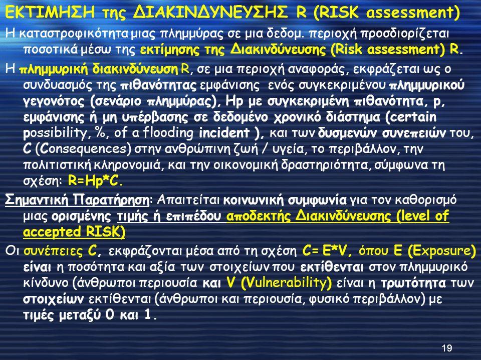 ΕΚΤΙΜΗΣΗ της ΔΙΑΚΙΝΔΥΝΕΥΣΗΣ R (RISK assessment) Η καταστροφικότητα μιας πλημμύρας σε μια δεδομ. περιοχή προσδιορίζεται ποσοτικά μέσω της εκτίμησης της
