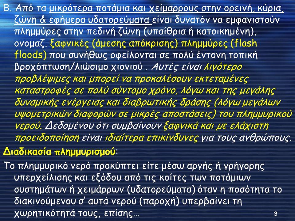  Επιρροή των Υ/Η φραγμ.στη συχνότητα των πλημμυρικών επεισοδίων: α.