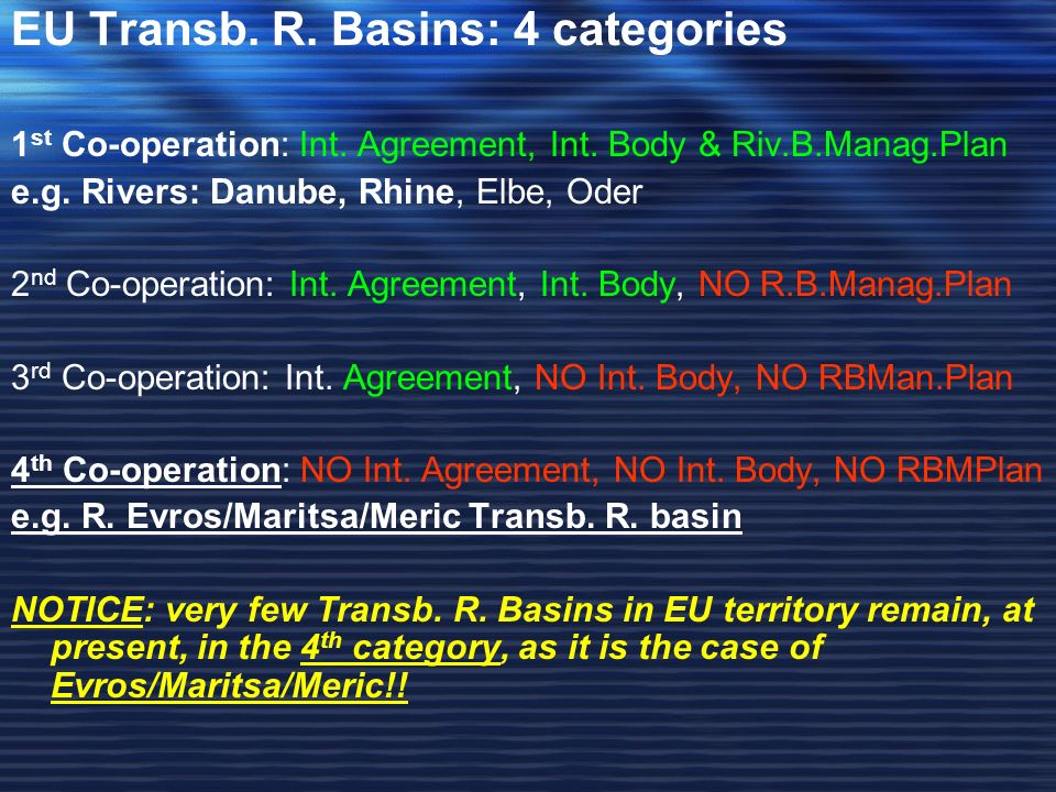 EU Transb. R. Basins: 4 categories 1 st Co-operation: Int.