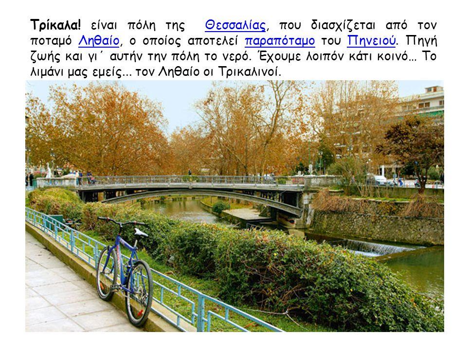 Τρίκαλα! είναι πόλη της Θεσσαλίας, που διασχίζεται από τον ποταμό Ληθαίο, ο οποίος αποτελεί παραπόταμο του Πηνειού. Πηγή ζωής και γι΄ αυτήν την πόλη τ