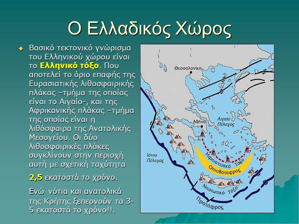 O Ελλαδικός Χώρος  Βασικό τεκτονικό γνώρισμα του Ελληνικού χώρου είναι το Ελληνικό τόξο. Που αποτελεί το όριο επαφής της Ευρασιατικής λιθοσφαιρικής π