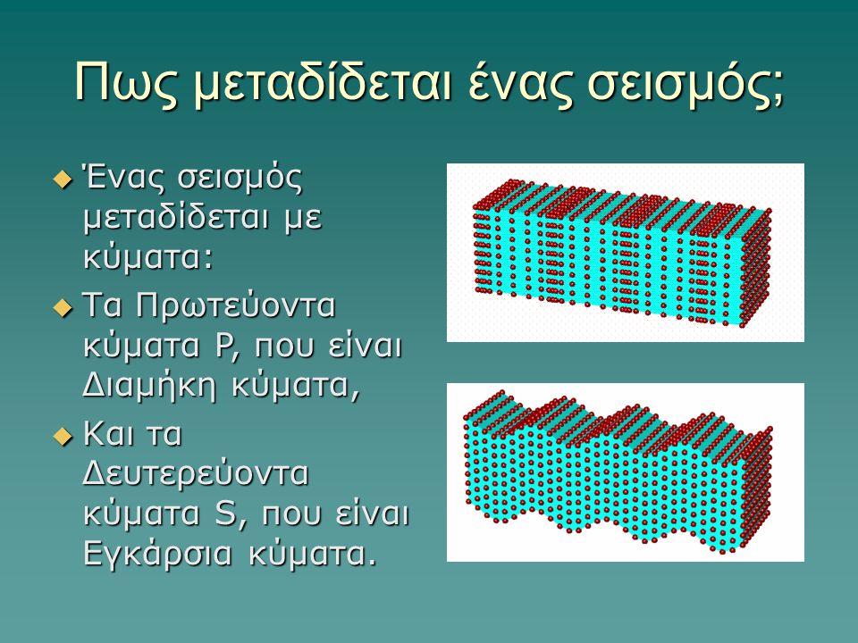 Πως μεταδίδεται ένας σεισμός; ΈΈΈΈνας σεισμός μεταδίδεται με κύματα: ΤΤΤΤα Πρωτεύοντα κύματα P, που είναι Διαμήκη κύματα, ΚΚΚΚαι τα Δευτερ