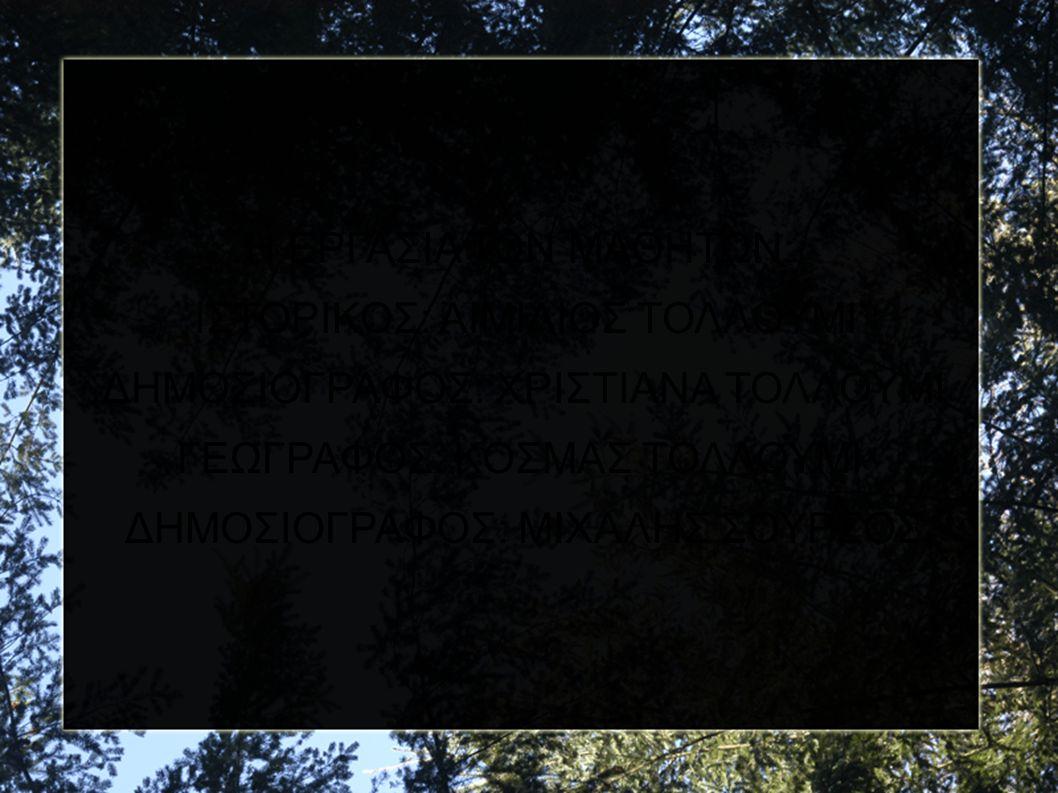 Η ΕΡΓΑΣΙΑ ΤΩΝ ΜΑΘΗΤΩΝ: ΙΣΤΟΡΙΚΟΣ: ΑΙΜΙΛΙΟΣ ΤΟΛΛΟΥΜΙ ΔΗΜΟΣΙΟΓΡΑΦΟΣ: ΧΡΙΣΤΙΑΝΑ ΤΟΛΛΟΥΜΙ ΓΕΩΓΡΑΦΟΣ: ΚΟΣΜΑΣ ΤΟΛΛΟΥΜΙ ΔΗΜΟΣΙΟΓΡΑΦΟΣ: ΜΙΧΑΛΗΣ ΣΟΥΡΣΟΣ