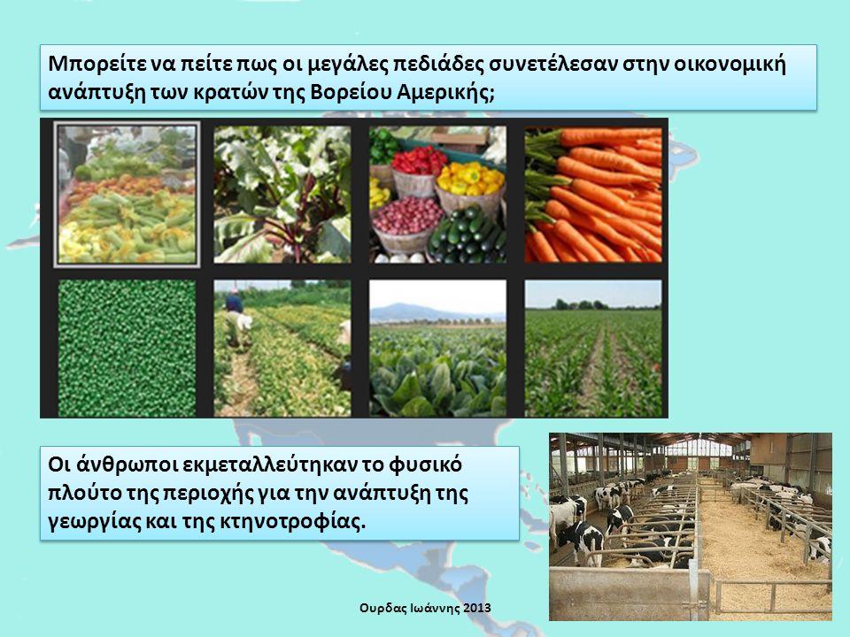 Μπορείτε να πείτε πως οι μεγάλες πεδιάδες συνετέλεσαν στην οικονομική ανάπτυξη των κρατών της Βορείου Αμερικής; Οι άνθρωποι εκμεταλλεύτηκαν το φυσικό πλούτο της περιοχής για την ανάπτυξη της γεωργίας και της κτηνοτροφίας.