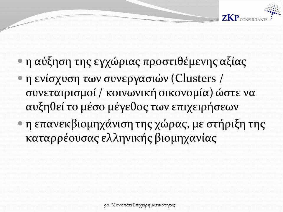 η αύξηση της εγχώριας προστιθέμενης αξίας η ενίσχυση των συνεργασιών (Clusters / συνεταιρισμοί / κοινωνική οικονομία) ώστε να αυξηθεί το μέσο μέγεθος των επιχειρήσεων η επανεκβιομηχάνιση της χώρας, με στήριξη της καταρρέουσας ελληνικής βιομηχανίας 9ο Μονοπάτι Επιχειρηματικότητας