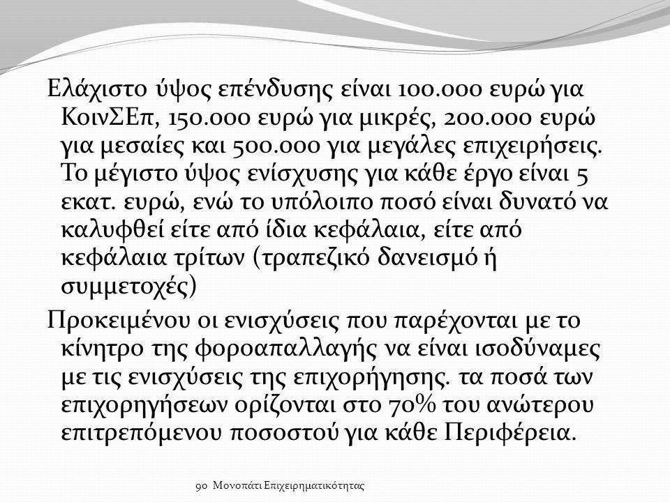 Ελάχιστο ύψος επένδυσης είναι 100.000 ευρώ για ΚοινΣΕπ, 150.000 ευρώ για μικρές, 200.000 ευρώ για μεσαίες και 500.000 για μεγάλες επιχειρήσεις.