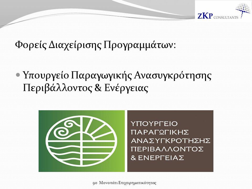 Φορείς Διαχείρισης Προγραμμάτων: Υπουργείο Παραγωγικής Ανασυγκρότησης Περιβάλλοντος & Ενέργειας 9ο Μονοπάτι Επιχειρηματικότητας