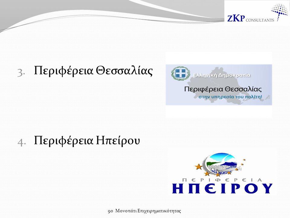 3. Περιφέρεια Θεσσαλίας 4. Περιφέρεια Ηπείρου 9ο Μονοπάτι Επιχειρηματικότητας
