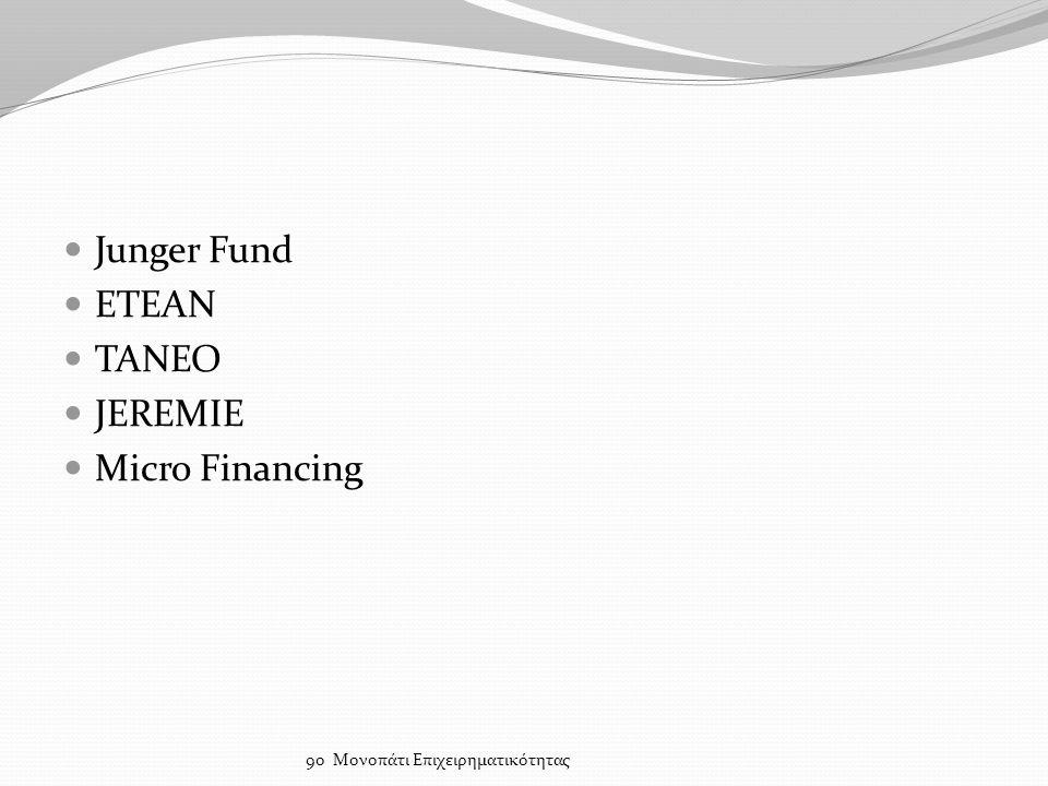 Junger Fund ΕΤΕΑΝ ΤΑΝΕΟ JEREMIE Micro Financing 9ο Μονοπάτι Επιχειρηματικότητας
