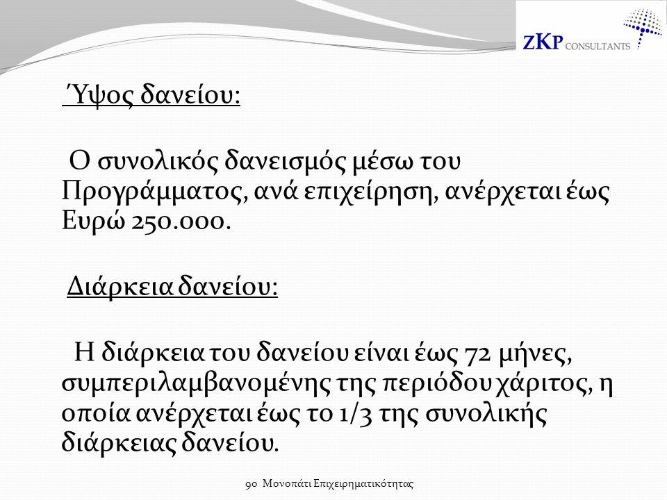 Ύψος δανείου: Ο συνολικός δανεισμός μέσω του Προγράμματος, ανά επιχείρηση, ανέρχεται έως Ευρώ 250.000.