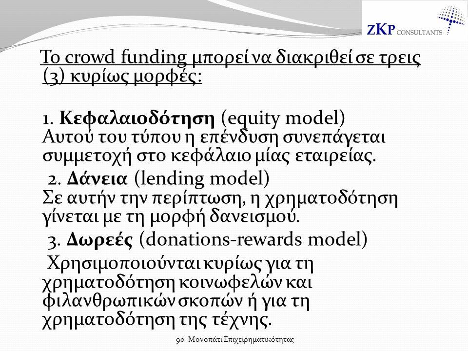 Το crowd funding μπορεί να διακριθεί σε τρεις (3) κυρίως μορφές: 1.