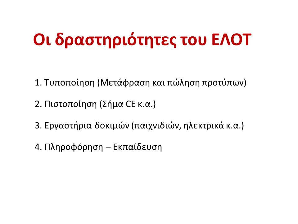 Οι δραστηριότητες του ΕΛΟΤ 1. Τυποποίηση (Μετάφραση και πώληση προτύπων) 2.