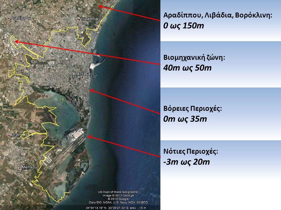 Βιομηχανική ζώνη: 40m ως 50m Αραδίππου, Λιβάδια, Βορόκλινη: 0 ως 150m Νότιες Περιοχές: -3m ως 20m Βόρειες Περιοχές: 0m ως 35m