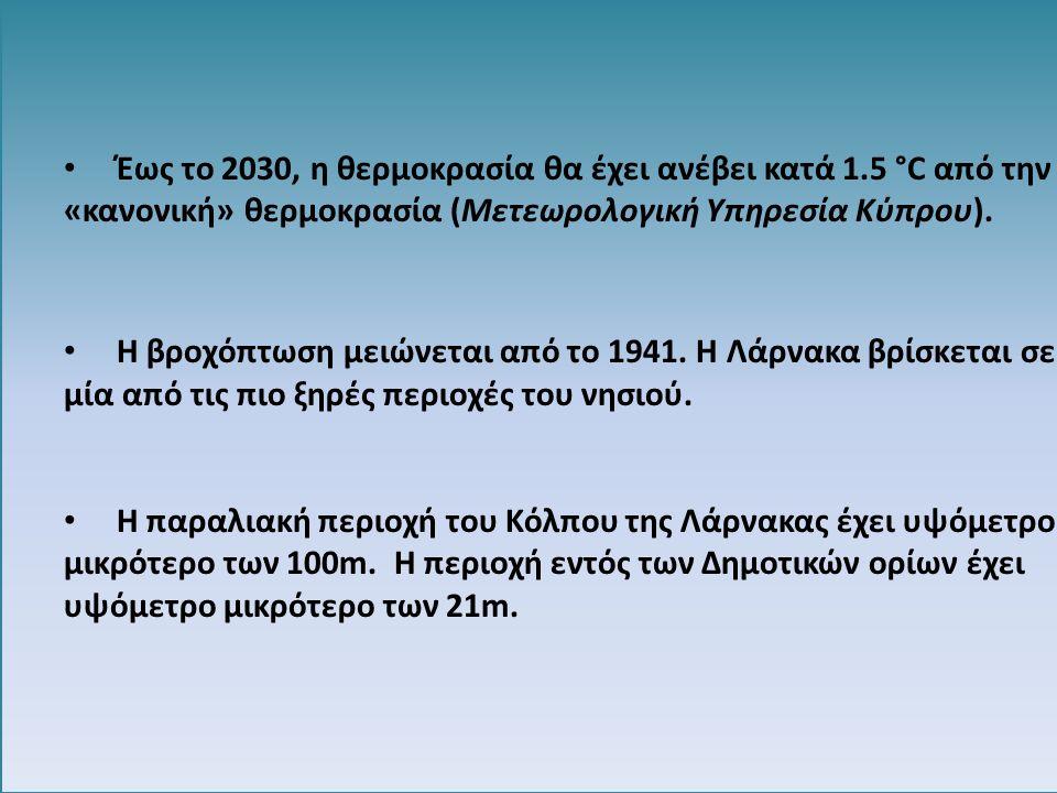 Έως το 2030, η θερμοκρασία θα έχει ανέβει κατά 1.5 °C από την «κανονική» θερμοκρασία (Μετεωρολογική Υπηρεσία Κύπρου). Η βροχόπτωση μειώνεται από το 19