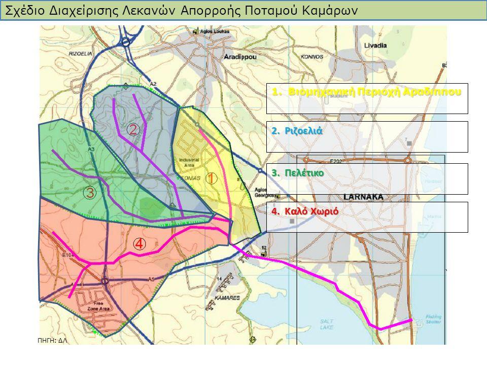 2. Ριζοελιά 1. Βιομηχανική Περιοχή Αραδιππου 3. Πελέτικο 4. Καλό Χωριό Σχέδιο Διαχείρισης Λεκανών Απορροής Ποταμού Καμάρων ΠΗΓΗ: ΔΛ